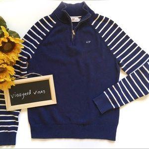 Vineyard Vines Sweater XS Blue White Stripe Zip